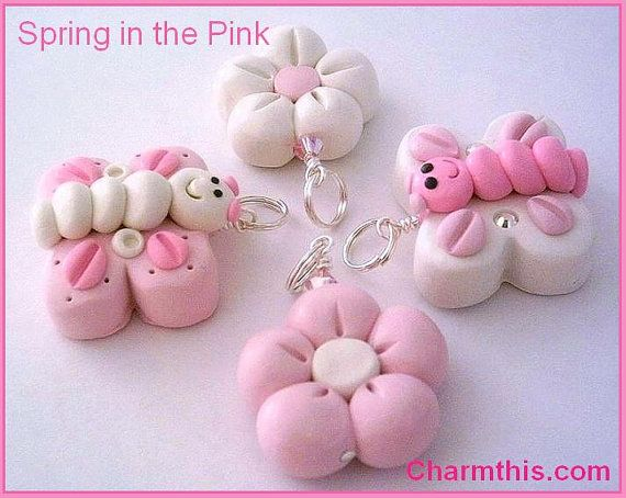 Polymer Clay Pink Butterflies & flowers