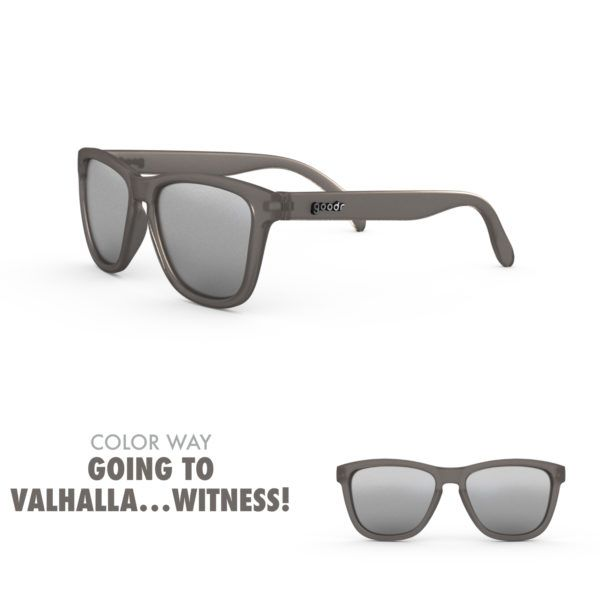 Buy running sunglass in gray and chrome color.