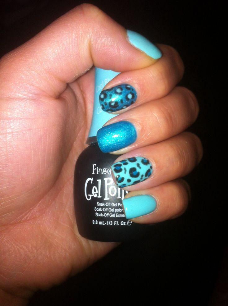 Tiffany blue and teal leopard gel polish! Gel polish