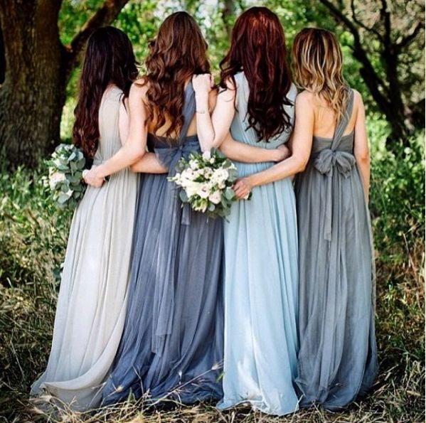 Shades of blue mismatched bridesmaid gowns. Instagram/bylamour #bridesmaid #mismatched