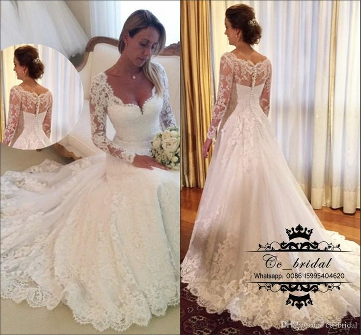 Elegant White Tulle Lace Wedding Dress A Line Long Sleeves Bridal Gowns 2017 Plus Size African Vestido De Noiva Custom Made Formal Dresses Country Wedding Dress Wedding Gowns Plus Size Wedding Dresses Online with 188.8/Piece on Cc_bridal's Store   DHgate.com