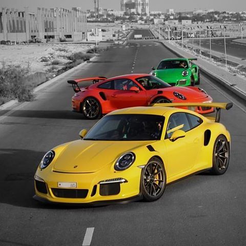 My good friend Jalal (@jibaluch)'s PTS Racing Yellow 991 GT3 RS from Bahrain, in a stunning photoshoot with a Lava and Viper Green RS. You can almost taste the rainbow here. : @alibunader | Follow @ptsrs and join the #PTSRS movement for the latest on the newest #painttosample Porsche 991 GT3 RS's, and (very) soon 911 R's.