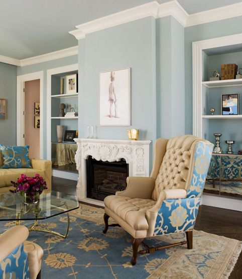 Blue Living Room With Crown Molding
