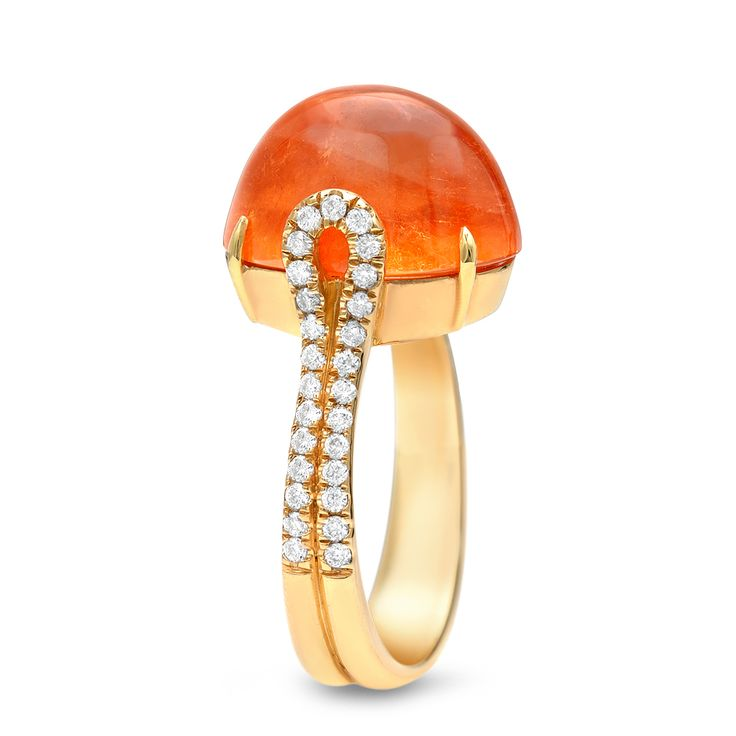 view this item and discover similar cocktail rings for sale at a bright and intense orange mandarin garnet cabochon showcased in an yellow gold ring with