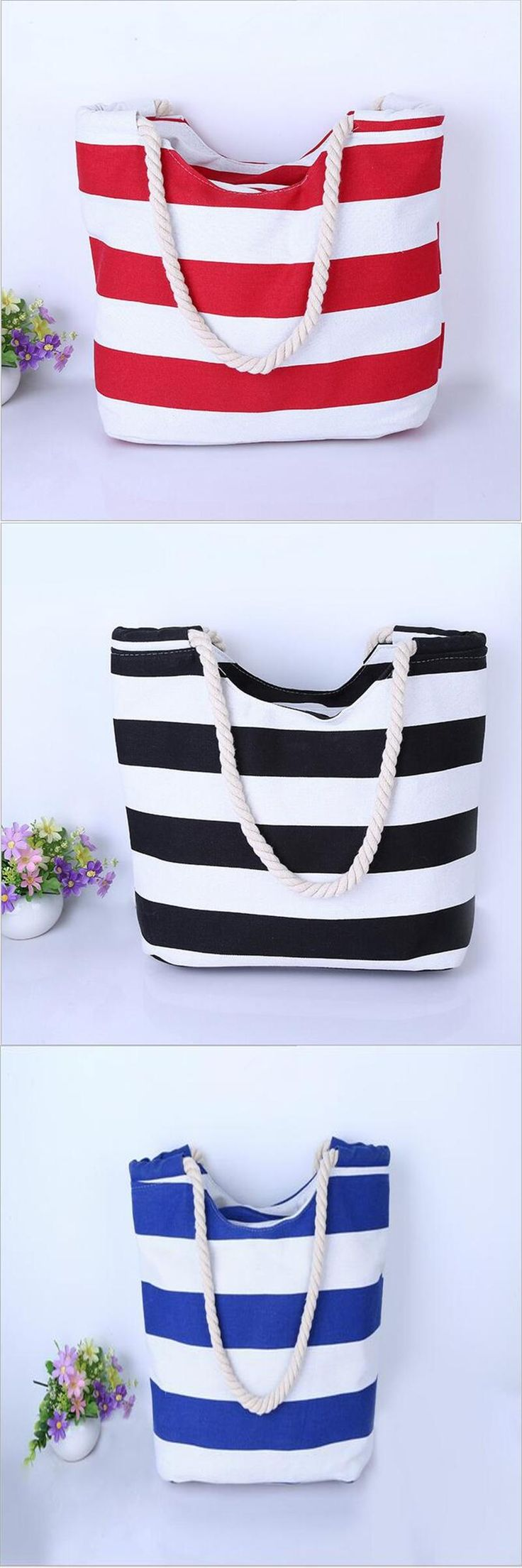 [Visit to Buy] 2016 Korean version of the simple wild striped canvas bag large canvas shopping bag candy colored handbags handbag #Advertisement