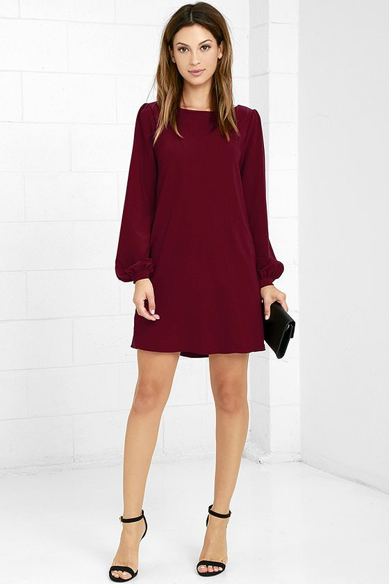 You'll be primed and ready in the Perfect Situation Burgundy Long Sleeve Shift Dress when everything starts falling into place! This woven poly dress has a casual shift shape, accented by a rounded neckline and long sleeves with lightly puffed shoulders. Sleeves end with buttons on the fitted wrist cuffs. Hidden side seam pockets.