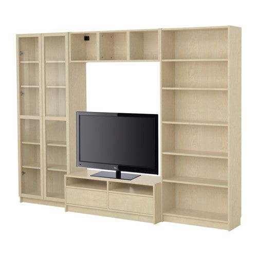 BILLY Bookcase combination with TV bench - birch veneer - IKEA Solution for over by the dining table?