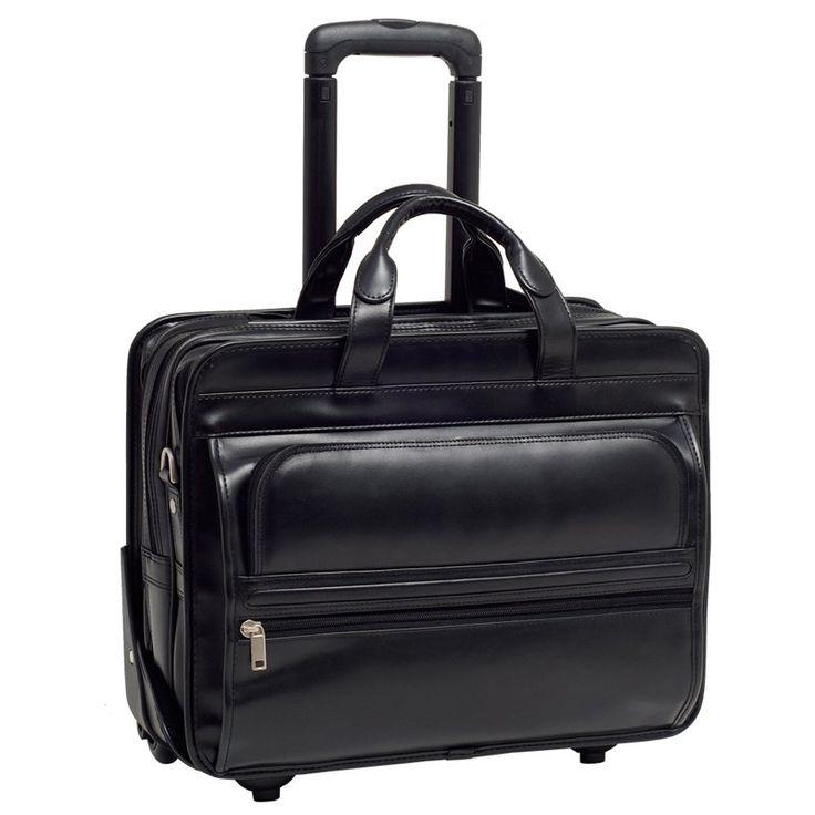 McKlein USA Franklin Leather 17 Inch Detachable Wheeled Laptop Case - Black - 86445
