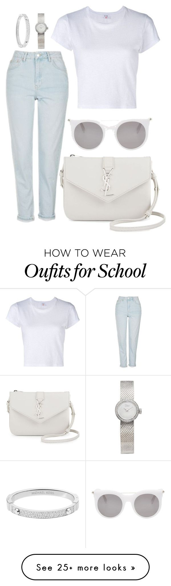 """Back 2 school"" by natysdvd on Polyvore featuring RE/DONE, Topshop, Yves Saint Laurent, Alexander McQueen, Michael Kors and Christian Dior"