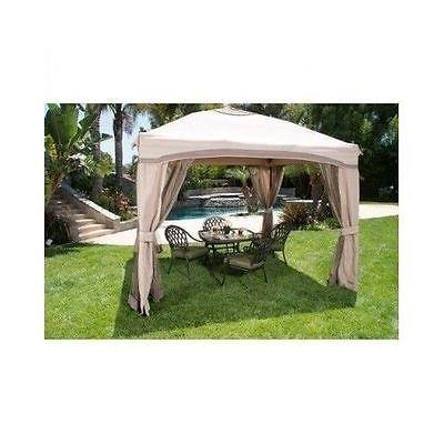 10x10 Portable Gazebo Pergola w/ Mosquito Netting Single Roof Party Tent Shades