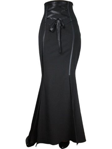 Black Jacquard Laces and Ruffles Fishtail Skirt at Anomalie Clothing - This stunning floor length skirt from Chic Star features: High corset style waist with decorative wide ribbon laces at front for cinching; Slits from the knees down for ease of movement; Zip at side; and black satin ribbon detail down front of skirt. A Victorian inspired skirt, perfect for winter outings. #Victorian Inspired Fashion