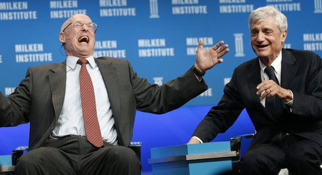 "Former Treasury Secretaries Henry Paulson (left) and Robert Rubin have a good laugh about income inequality.  No joking fellas, ""Up against the wall, MFers!"""