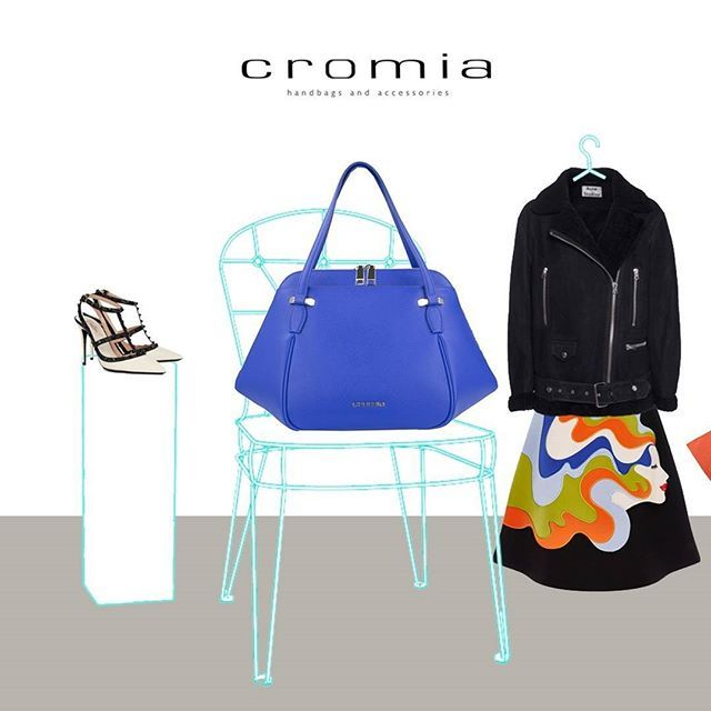 An explosion of vitaminic colors for this Wednesday: choose the #Cromia #Perla handbag in indigo and mix it with black jacket, colorful skirt, and bicolor heels!  #cromiabag #cromialovers #handbag #fashion #style #baglover #charme #trend #outfit #bag #instastyle #instafashion #bagoftheday #fashionblogger #iconic #citystyle #glamour #fw