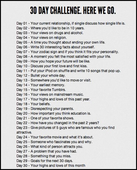 30 day blogging/ writing challenge