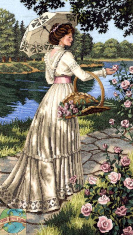 Cross Stitch Kit ~ Gold Collection Victorian Lady Summer Stroll Roses #3868
