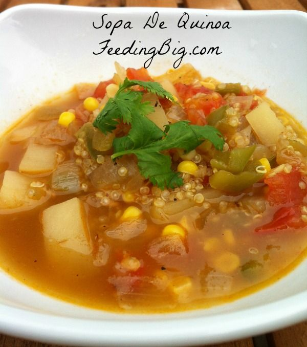 Sopa De Quinoa recipe with Feeding Big.  Quinoa is an ancient grain from South and Central America.  This soup makes a great main course #meatless meal.  Perfect for lunch or dinner. http://feedingbig.com/2013/08/sopa-de-quinua-with-feeding-big.html