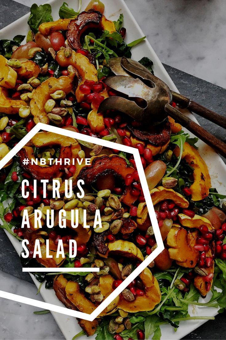 Citrus Arugula Salad with Roasted Delicata, Pistachios, Grapes and ...