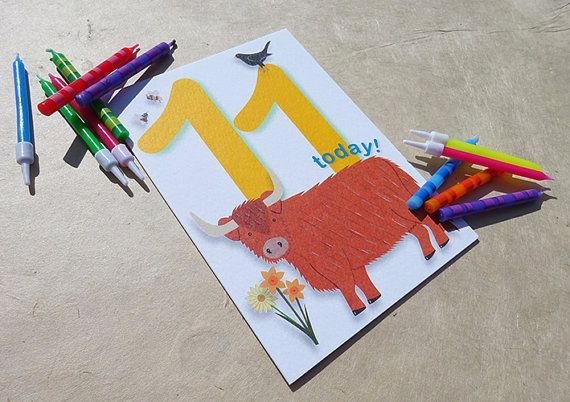 #Birthday Beasties from Luck & Judgement is a whimsical range of childishly innocent birthday cards featuring bright, bold numbers and a cast of cute and cheeky animals. Pac... #birthday #eleven #animal #wildlife #farm #cow
