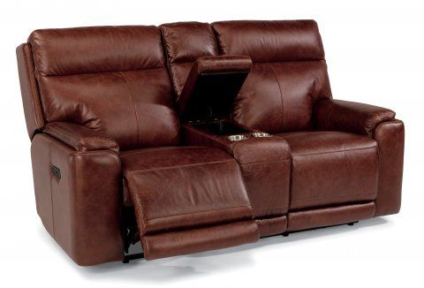 Sienna Leather Power Reclining Loveseat with Console and Power Headrests by #Flexsteel via Flexsteel.com