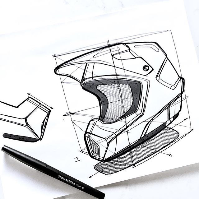 "Motorcross helmet build up. Sometimes, I'll hit a topic or product I've never sketched around before. Usually, I can visualize the proportions and knock it out. Other times I can't. When I can't ink on the fly, I lay down a cube and block my elements using the cube as a guide. If I was going to do several different versions of this helmet, I'd use this as my ""working underlay"" and sketch over it again and again. I'd probably switch over to digital at this point as well to make color…"