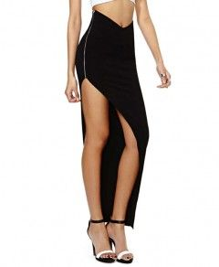 Forked Tail Irregular Hem Black Skirt With Side Zipper