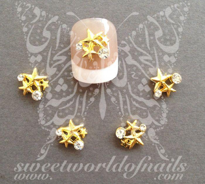3 Star Gold Rhinestones Charms 3D Nail Art / 2pcs