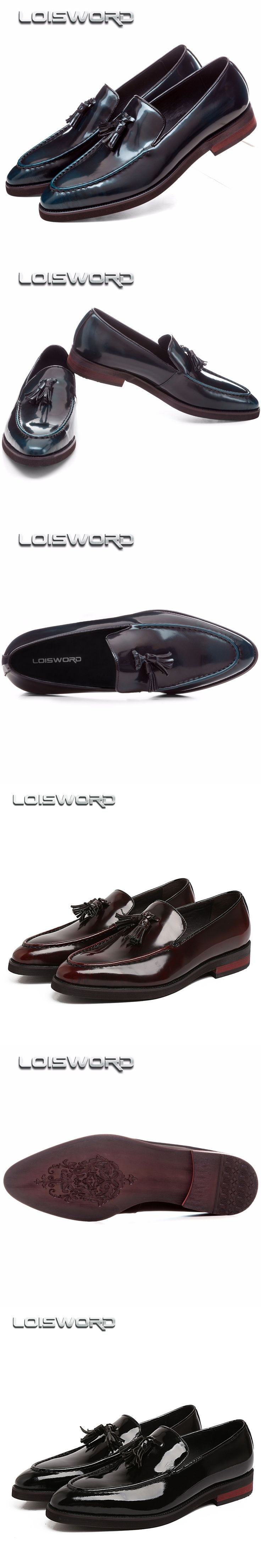 Father's Shoes Black / wine red / blue loafers mens dress shoes genuine leather business shoes mens wedding shoes with tassel