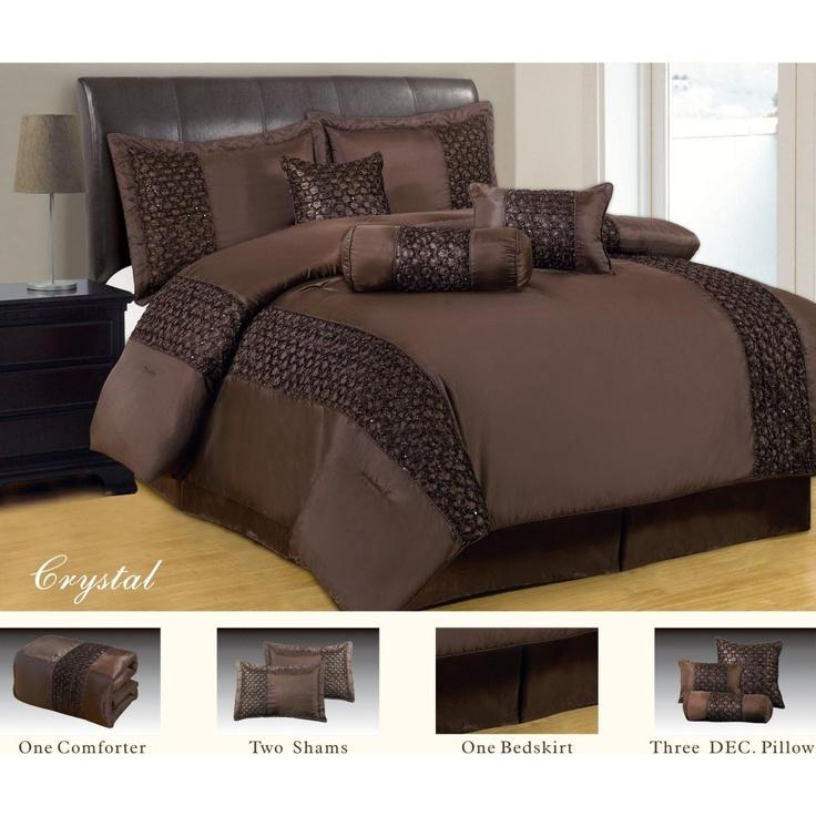 7 Piece Luxury Faux Silk Crystal Brown Comforter Set Queen