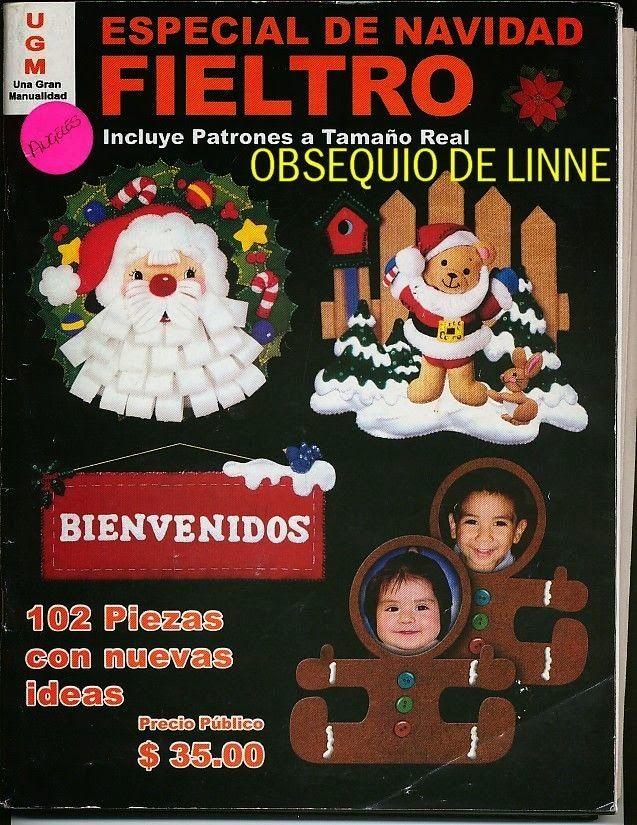 Revistas de Fieltro gratis: muñecos navideños en fieltro con moldes