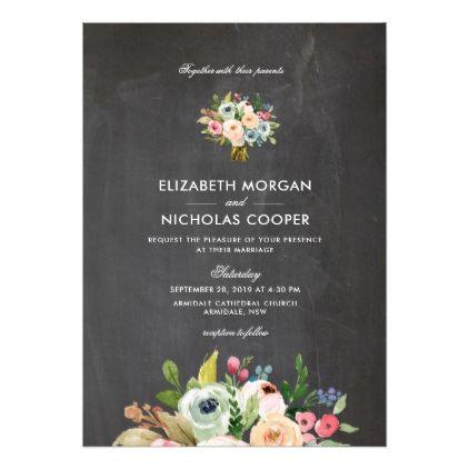 Sweet Watercolor Bouquet - Chalkboard | Invitation - floral style flower flowers stylish diy personalize