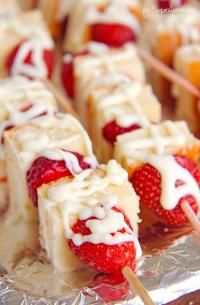 Strawberry Shortcake Kabobs on MyRecipeMagic.com These are your ticket to becoming a backyard-barbecue legend, perfect for 4th of July.