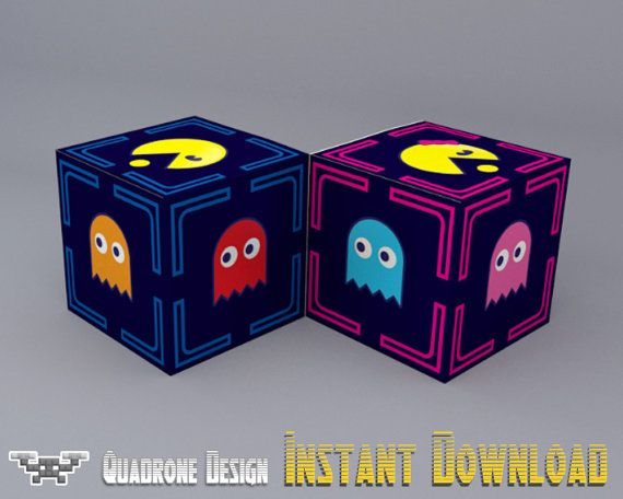 Pixel Pac-Man Party Favor Box Set DIY Printable Ms. Pac-Man Party Supplies, Decorations, Instant Download