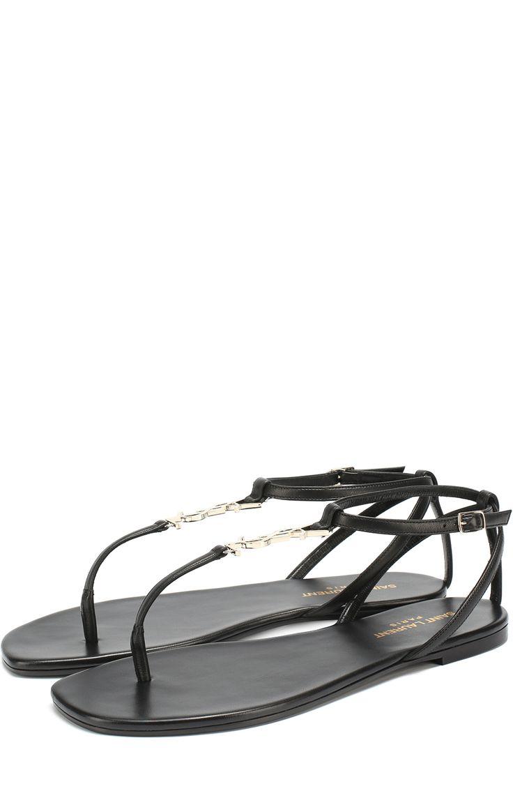 Женские черные кожаные сандалии с логотипом бренда Saint Laurent, сезон SS 2017, арт. 466680/B34JJ купить в ЦУМ   Фото №1