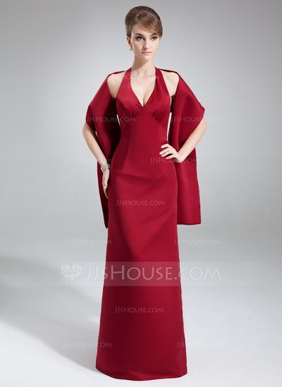 [MXN$ 2,315] Vestido tubo Cabestro Hasta el suelo Satén Dama de honor