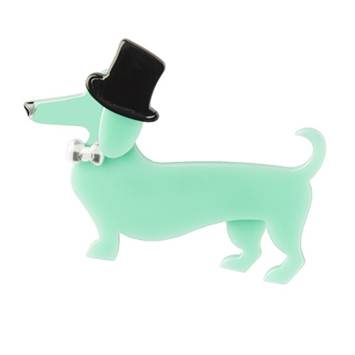 Pierre and the dancing hat brooch. Here comes Pierre in his fancy bow tie and hat, even the birds fancy a dog walking like that!