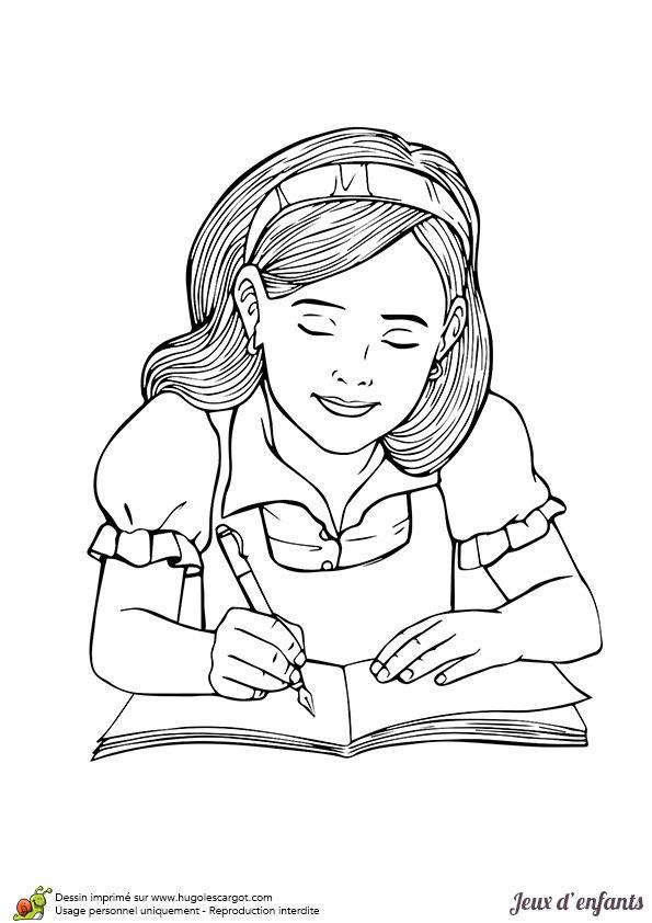 Dessin pour enfant, une petite fille entrain de faire ses devoirs, à colorier