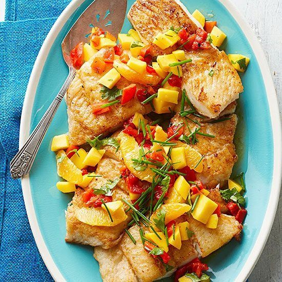 Caribbean White Fish with Mango-Orange Relish: Lightly pan-fried white fish gets a refreshing lift from a sweet confetti of oranges and chopped mango. Pair with rice or couscous for an easy meal. Recipe: http://www.midwestliving.com/recipe/caribbean-white-fish-with-mango-orange-relish/