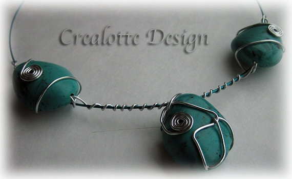 Turquoise Imitation Necklace by crealotte on Etsy, $25.00: Necklaces, Imitation Necklace, Wire Wrapping