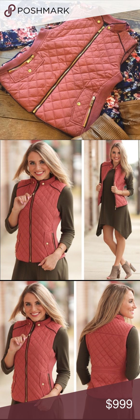 """🎉🎉🎉COMING SOON!🎉🎉🎉 Marsala Quilted Vest With Gold Hardware   100% Polyester  Bust: S-17"""" :: M-18"""" :: L-19"""" Length: S-22"""" :: M-23"""" :: L-24"""" Jackets & Coats Vests"""