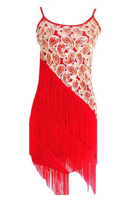 Vikoros Women 1920S Sexy Paisley Art Deco Sequin Tassle Fringe Latin Dance Dress