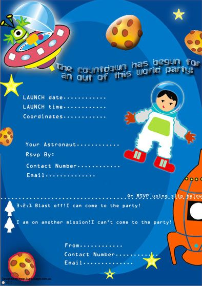 Space Theme Party Invitations