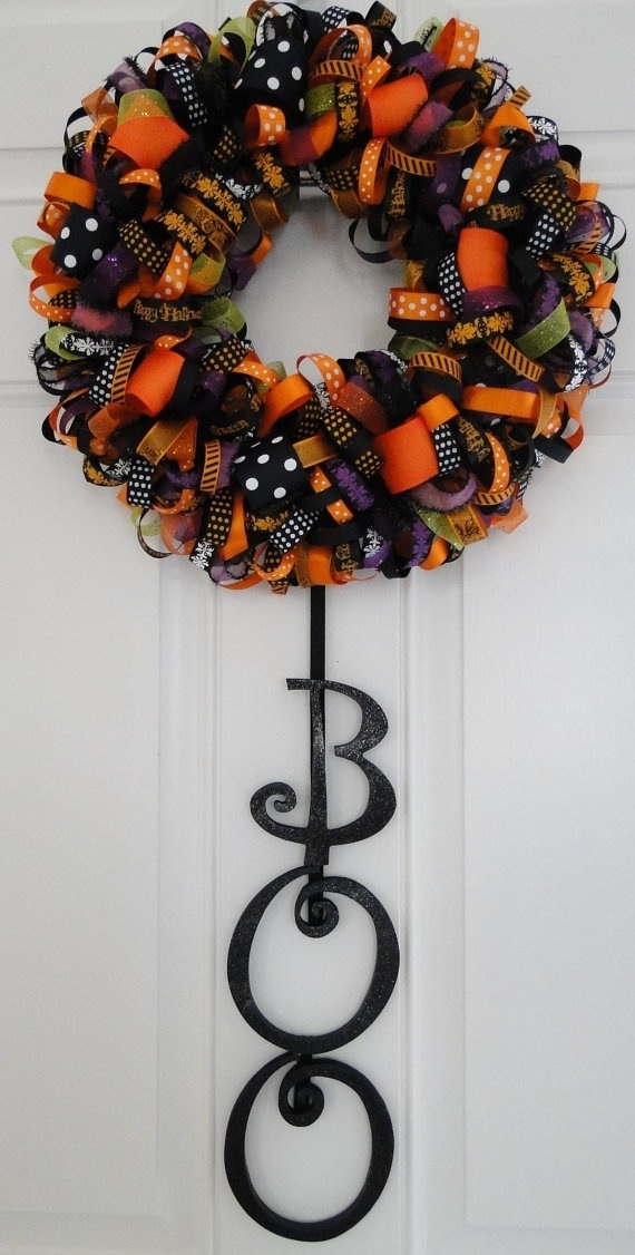 Halloween wreath-cute despite the cost of all that ribbon!