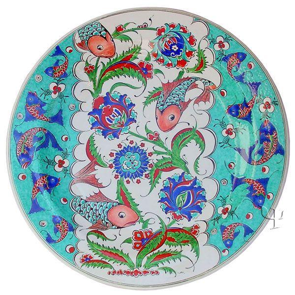 Iznik Design Ceramic Plate - Fish