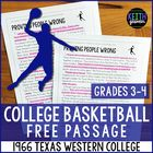 FREE Reading Passage: 1966 Texas Western College Basketbal