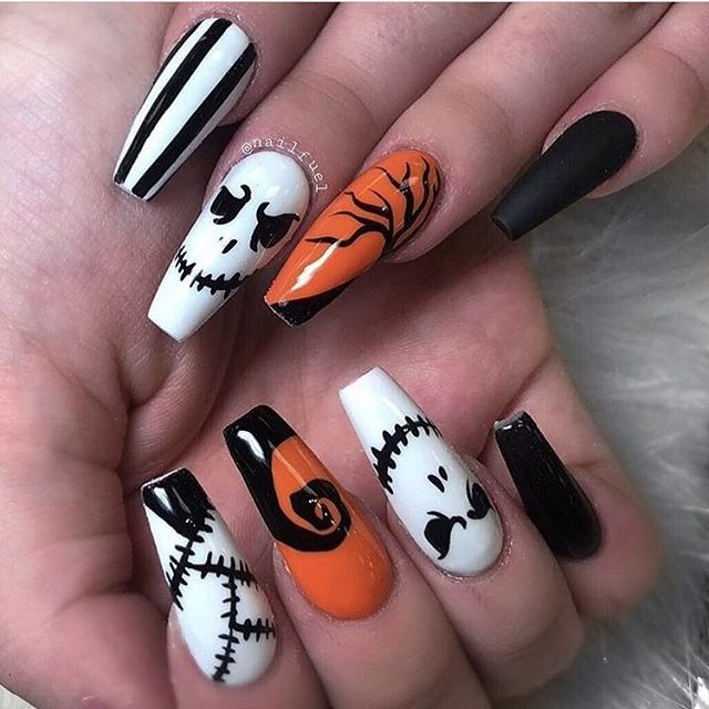 Best Halloween Nails Halloween Acrylic Nails Halloween Nails Easy Halloween Nail Designs