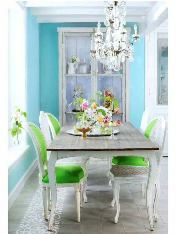 This Is Such A Lovely Dining Room Love The Mix Of Colors And Mismatch Chairs Blue White Green