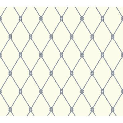 york wallcoverings nautical living knot x trellis wallpaper color gray and navy blue - Trellis Wall Paper