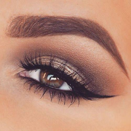 Winged eye makeup.