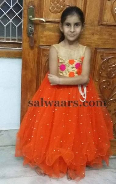 Two Layers Orange Frock - Indian Dresses