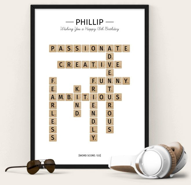 Happy Birthday Poster from The Puzzle Poster - scrabble themed poster
